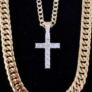 CROSS SET 18K GOLD FULL DIAMONDS CZ CHAIN ITALY
